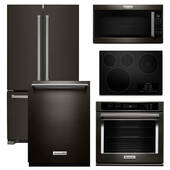 Package KitchenAid KB3 - KitchenAid Appliance - 5 Piece Built-In Appliance Package with Electric Cooktop - Black Stainless Steel