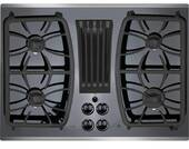 """PGP9830SJSS GE Profile Series 30"""" Built-In Gas Downdraft Cooktop with 4 Burners - Black on Stainless Steel"""