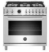 "PROF366DFSXT Bertazzoni 36"" Professional Series Free Standing 6 Burner Dual Fuel Range with Counter Deep Main Top and Electric Self Clean Oven - Stainless Steel"