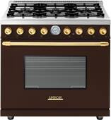 """RD361GCMG Superiore 36"""" DECO Gas Range with Classic Door and Extra Large Gas Oven - Brown with Gold Accent"""