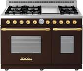 """RD482GCMG Superiore 48"""" DECO Gas and Electric Range with Classic Door, Griddle, and Two Extra Large Gas Ovens - Brown with Gold Accent"""