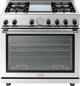 """RN362GPSS Superiore 36"""" NEXT Range with Panorama Door, Griddle and Extra Large Gas Oven - Natural Gas - Stainless Steel"""