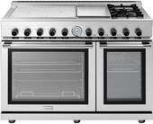"""RN483GPSS Superiore 48"""" NEXT Range with Panorama Door, Induction and Gas burners, Electric Griddle and Two Extra Large Gas Ovens - Natural Gas - Stainless Steel"""