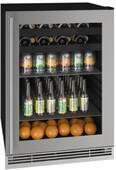 "UHBV124-SG01A U-line U-Line 24"" 1 Class Beverage Center with Glass Frame Door - Stainless Steel"