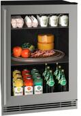 """UHRE124-SG01A U-Line 24"""" 1 Class Undercounter Refrigerator with Glass Door - Stainless Steel"""