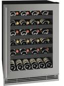 """UHWC124SG01A U-Line 24"""" 1 Class Series Single Zone Wine Cooler with Stainless Steel Frame and 48lb Bottle Capacity - Reversible Hinge - Stainless Steel"""
