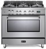 """VPFSGE365SS Verona 36"""" Prestige Series Dual Fuel Single Oven Range with 5 Sealed Gas Burners and European Convection Oven - Stainless Steel"""