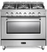"VPFSGG365SS Verona 36"" Prestige Series Gas Single Oven Range with 5 Sealed Gas Burners and Full Function Convection Oven - Stainless Steel"