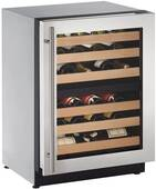 """2224ZWCS-00B U-Line 2000 Series 24"""" Wide Wine Captain with Independently Controlled Dual Zones - Reversible Hinge - Stainless Steel"""