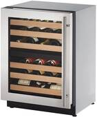 """2224ZWCS-15B U-Line 2000 Series 24"""" Wide Wine Captain with Independently Controlled Dual Zones - Left Hand Hinge with Lock - Stainless Steel"""