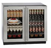 "3036RRGLS-13B U-Line Modular 3000 Series 36"" Glass Double Door Refrigerator with LED Interior Lighting and OLED Display - With Lock - Stainless Steel Frame"