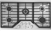 "CGP9536SLSS GE 36"" Cafe Series Built-In Gas Cooktop with 5 Sealed Burners and White LED Heavy Duty Knobs - Stainless Steel"