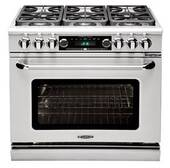 """CSB362B2LP Capital 36"""" Connoisseurian Dual Fuel Self-Clean Range with 4 Sealed Burners + 12"""" Broil Burner with Commercial Grates - Liquid Propane - Stainless Steel"""