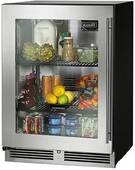 """HC24RB33L Perlick 24"""" Commercial Series Built-in Refrigerator with Stainless Glass Door - Left Hinge"""