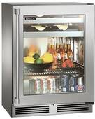 "HH24BS34R Perlick 24"" Shallow Depth Indoor Beverage Center with Wood Overlay Glass Door - ADA Compliant - Custom Panel"