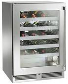 "HH24WS34R Perlick 24"" Wide Shallow Depth Wine Reserve with Wood Overlay Glass Door, Right Hinge & ADA Compliant - Custom Panel"
