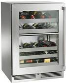 """HP24DS34R Perlick 24"""" Signature Series Dual Zone Wine Reserve with Integrated Wood Glass Overlay Door - Right Hinge"""