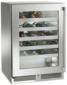 "HP24WS33R Perlick 24"" Signature Series Stainless Wine Reserve with Stainless Steel Glass Door - Right Hinge"