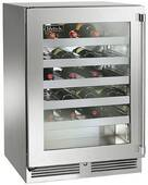"""HP24WS34L Perlick 24"""" Signature Series Stainless Wine Reserve with Integrated Overlay Glass Door - Left Hinge"""