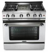 """MCR364BL Capital Precision Series 36"""" LP Gas Range with 4 Power-Flo Burners & Hybrid Radiant BBQ Grill - Stainless Steel"""
