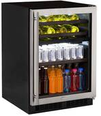"ML24WBF2RP Marvel 24"" Right Hinge Glass Frame Door Dual Zone Wine Beverage Center with Vibration Neutralization System and Thermal Efficient Cabinet - Custom Panel Ready"