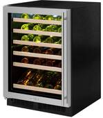 """ML24WSF4LP Marvel 24"""" Left Hinge High Efficiency Glass Frame Door Single Zone Wine Refrigerator with Vibration Neutralization System and Thermal Efficient Cabinet - Custom Panel Ready"""