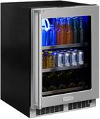 """MP24BCG4RS Marvel 24"""" Professional Right Hinge Glass Frame Door Beverage Center with Lock and Display Wine Rack - Stainless Steel"""