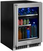 "MP24WBG4LS Marvel 24"" Professional Left Hinge Glass Frame Door Undercounter  Dual Zone Wine and Beverage Center with Dynamic Cooling Technology and Close Door Assist System - Stainless Steel"