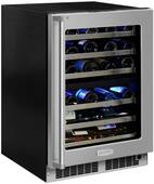 """MP24WDF5RP Marvel 24"""" Professional High Efficiency Right Hinge Glass Frame Door Undercounter Dual Zone Wine Cellar with Dynamic Cooling Technology and Close Door Assist System - Custom Panel"""