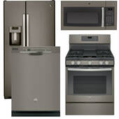 Package GE 37 - GE Appliance - 4 Piece Appliance Package with Gas Range - Includes Free Microwave - Slate