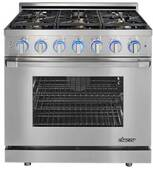 "RNRP36GSNG Dacor 36"" Self Cleaning Natural Gas Range with DualStacked Burners - Stainless Steel"