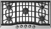 """RVGC33615BSSLP Viking 36"""" Gas Cooktop with 5 Sealed Burner Burners and Keep Warm Zone - Liquid Propane - Stainless Steel"""
