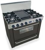 "TTN310-7W FiveStar Five Star 36"" Pro Style Natural Gas Range with Open Burners - Black"