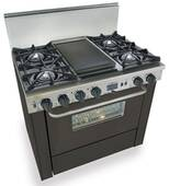 "TTN325-7W FiveStar Five Star 36"" Pro Style Dual-Fuel Self-Cleaning Convection Range with Open Burners - Natural Gas - Black"