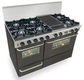 "TTN525-7W FiveStar Five Star 48"" Pro Style Dual Fuel Self-Cleaning Convection Range with Open Burners - Natural Gas - Black"