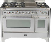 "UM120S5DMPIX Ilve Majestic 48"" 5 Burner Dual Fuel Range with Coup de Feu - Chrome Trim - Natural Gas - Stainless Steel"