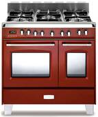 "VCLFSGE365DR Verona Classic 36"" Dual Fuel double Oven Range with 5 Sealed Burners - Gloss Red - CLEARANCE LAST ONE"
