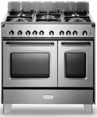 "VCLFSGG365DSS Verona Classic 36"" All Gas Double Oven Range with 5 Sealed Burners - Stainless Steel"