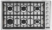 "VGSU53616BSS Viking 36"" Professional 5 Series Natural Gas Cooktop with 6 Burners and SureSpark Ignition System - Stainless Steel"