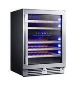 "WCDE46R3S Avanti 24"" Dual Zone Elite Series Wine Chiller with Soft Touch Control and Blue LED Electronic Display and Tempered Double-Pane Glass Door - Stainless Steel"
