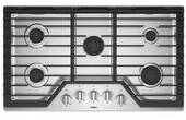"""WCG55US6HS Whirlpool 36"""" Built-In 5 Sealed Burner Gas Cooktop with EZ 2 Lift Hinged Cast Iron Grates and Upswept SpillGuard Cooktop - Stainless Steel"""