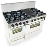 "WTN525-7W FiveStar Five Star 48"" Pro Style Dual Fuel Self-Cleaning Convection Range with Open Burners - Natural Gas - White"