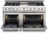 """CGSR604GG2L Capital Culinarian Series 60"""" Self-Clean Range with 6 Open Burners and 24"""" Griddle - Liquid Propane - Stainless Steel"""