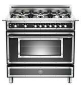 "HER366GASNE Bertazzoni Heritage 36"" Range with 6 Brass Burners and Gas Oven - Black"