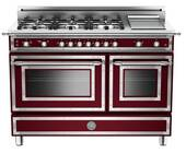 """HER486GGASVI Bertazzoni Heritage 48"""" Range with 6 Brass Burners + Griddle and Gas Oven - Wine"""