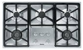 """KM3474LP Miele 3000 Series 36"""" Liquid Propane Cooktop with Hexa Grates - Stainless Steel"""