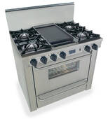 "TTN310-7BW FiveStar Five Star 36"" Pro Style Natural Gas Range with Open Burners - Stainless Steel"