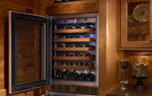 "HC24WB34L Perlick 24"" Commercial Series Built-in Wine Reserve with Integrated Wood Overlay Glass Door - Left Hinge"